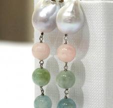 Perle nucleate, Morganite, Acquamarina