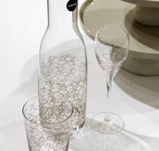 Bicchieri e bottiglia in vetro Cristallino