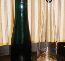 Bottiglia in vetro soffiato e tappo in gomma